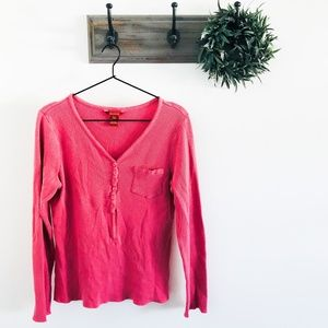 Soft Surroundings Pink Waffle Knit Henley Top M